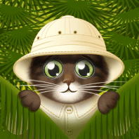 cat in pith helmet peeking from jungle